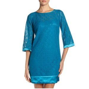 Laundry Teal Crochet Lace Dress